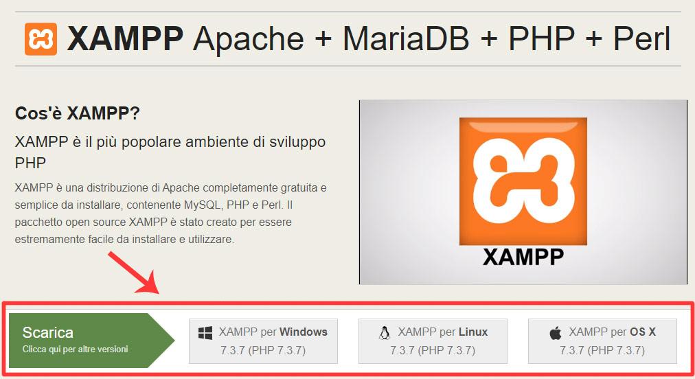 installare wordpress in locale - download XAMPP
