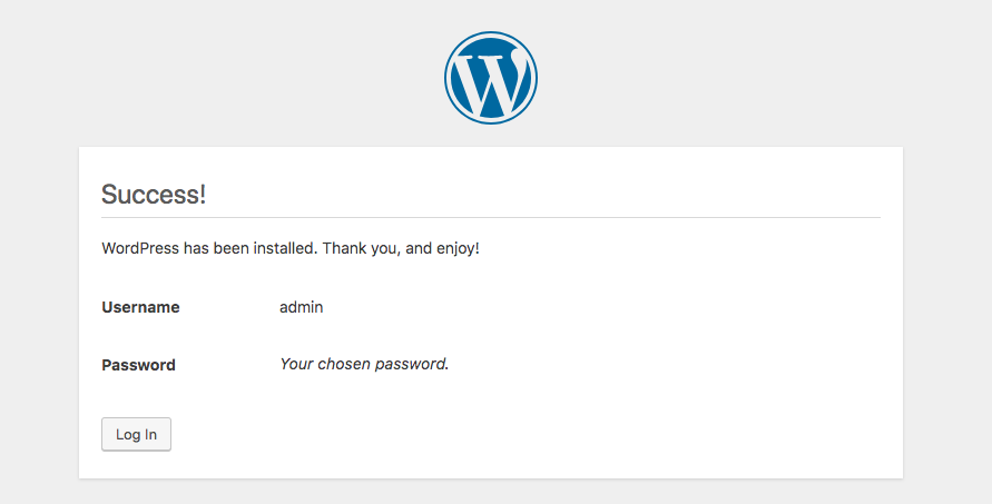 installare wordpress in locale - login