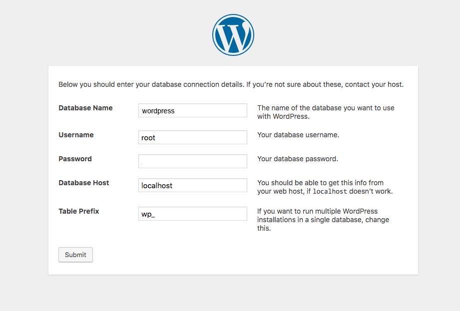installare wordpress in locale - selezione database