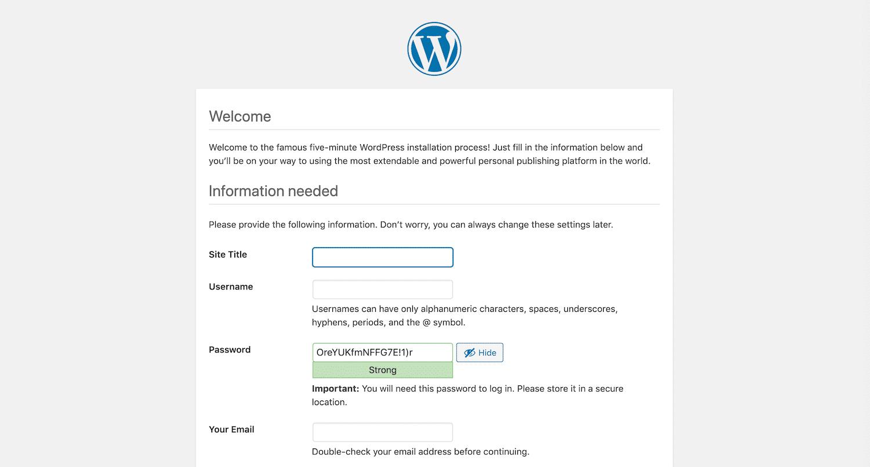 installare wordpress in locale - selezione titolo sito, user, password
