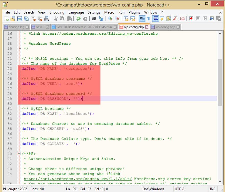 installare wordpress in locale - modifica wp-config