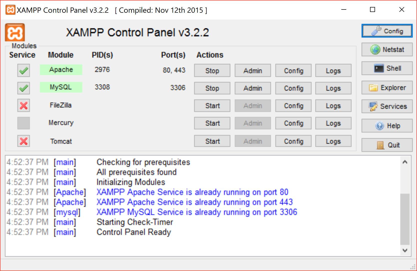 installare xampp - server avviati