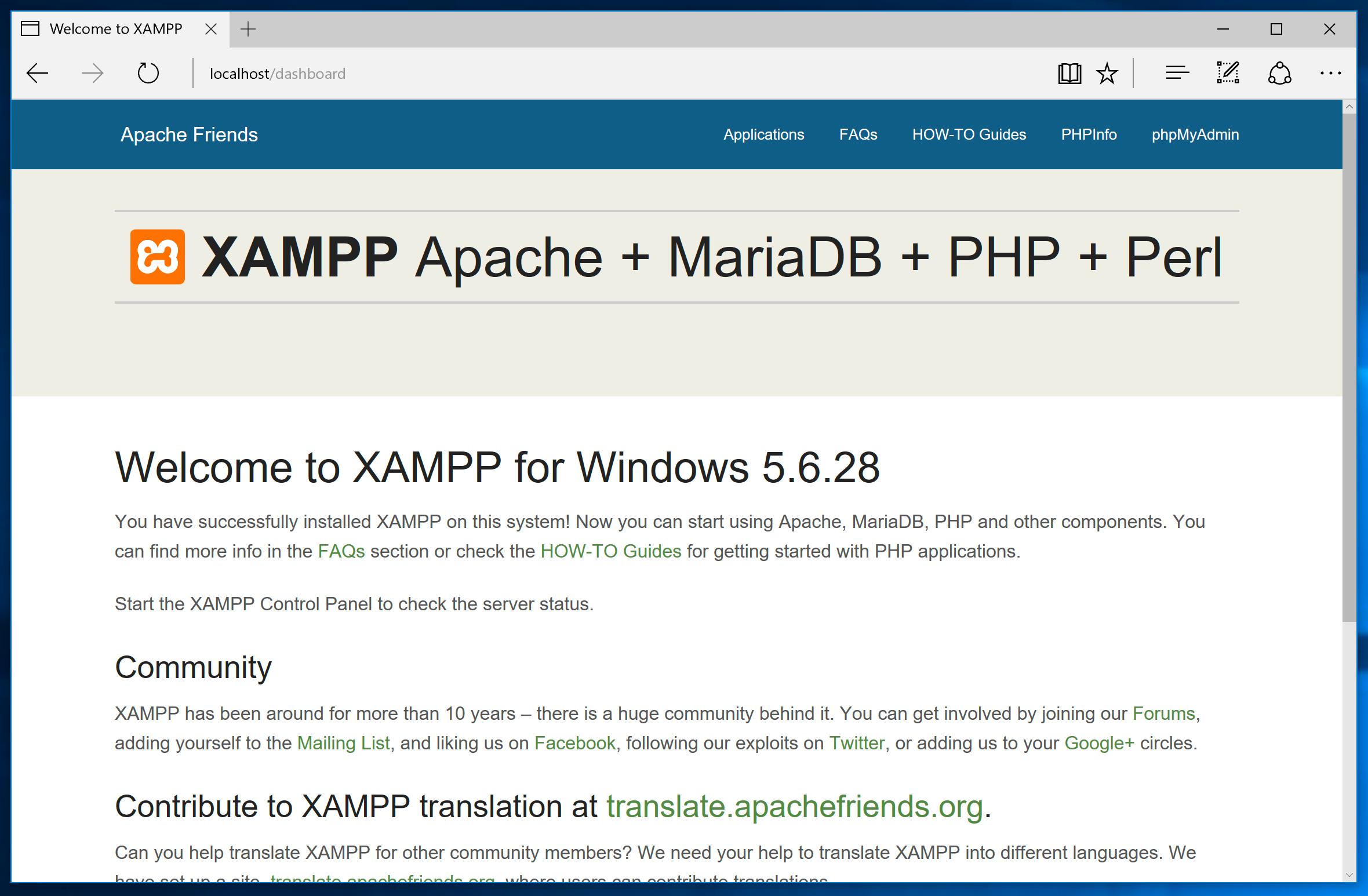 xampp avviato - localhost
