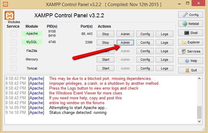 creare un database mysql con xampp