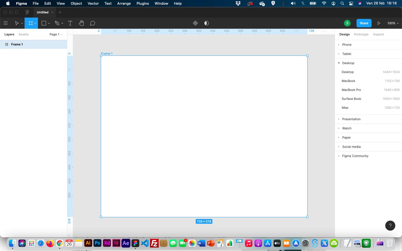 creare icone con figma - frame