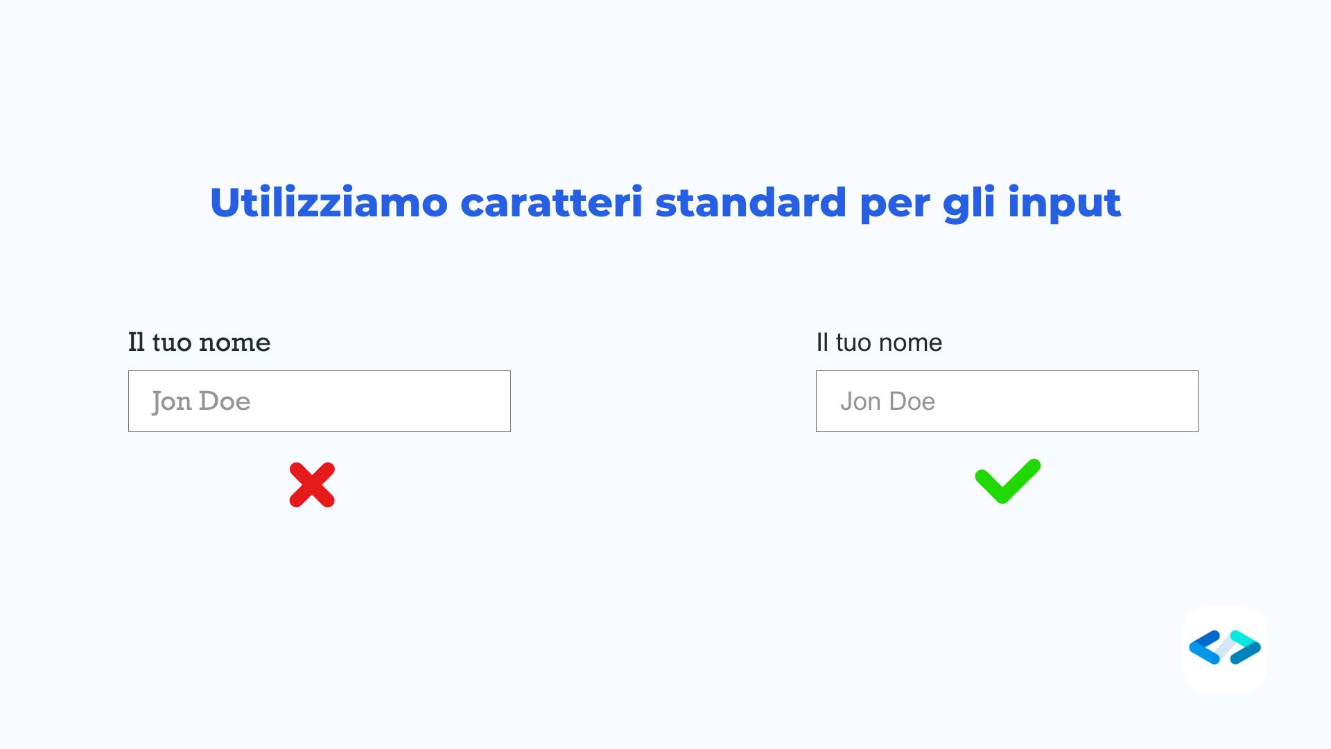 tipografia - caratteri standard per gli input
