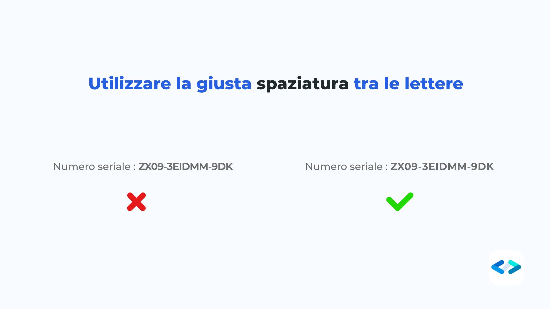letter spacing - spaziare le lettere nel modo corretto
