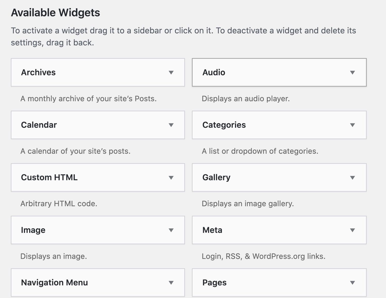 wordpress widget preinstallati