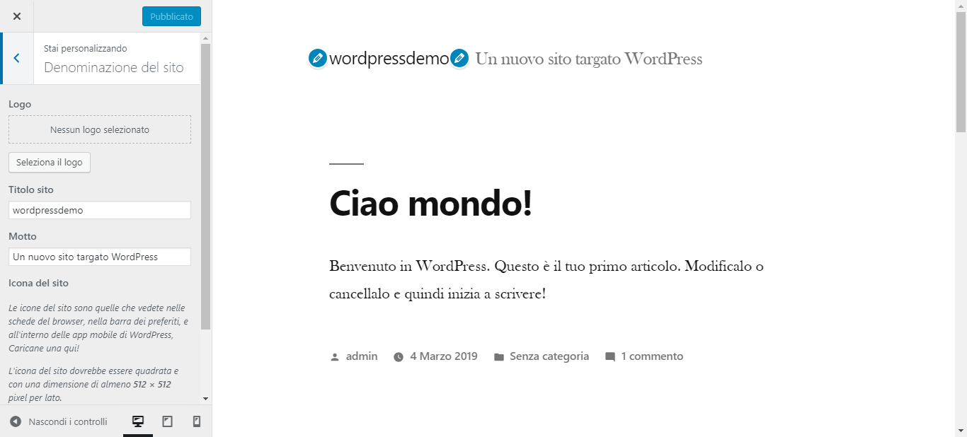 wordpress personalizza tema